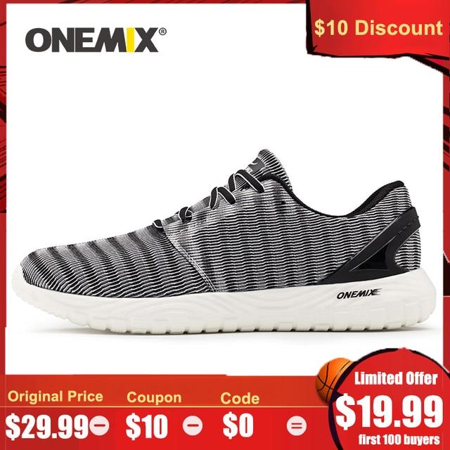 ONEMIX 2020 גברים קל משקל נעלי ריצה בחוץ ריצה נעלי הליכה סניקרס גמיש רך קיץ לנשימה ספורט נעליים