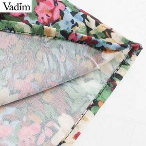 Image 5 - Vadim femmes doux motif floral mini robe côté fermeture éclair à manches longues coupe mince mignon femme casaul robes élégantes vestidos QC862