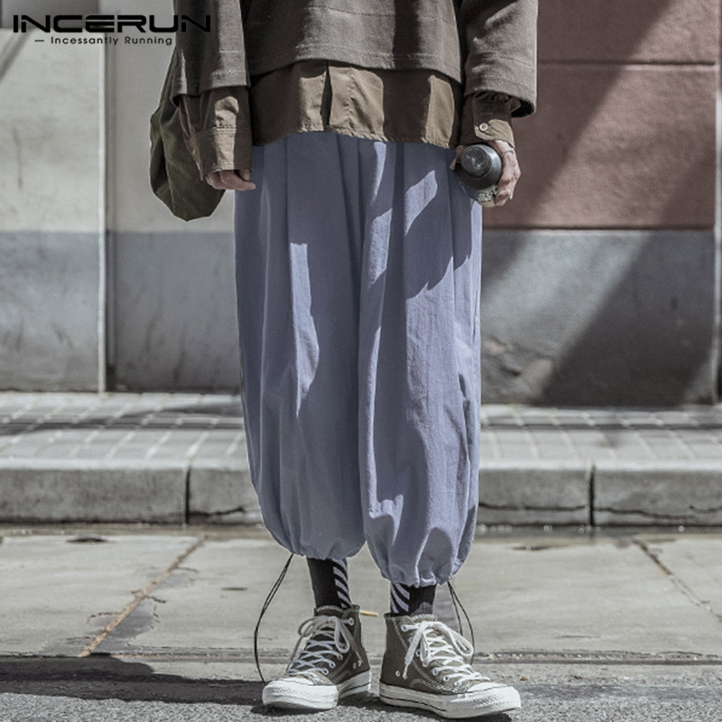 2020 New Mens Black Loose Elastic Waist Pants Summer Sweatpants Harem Joggers Man Pockets Bloomers Drawstring Trousers INCERUN