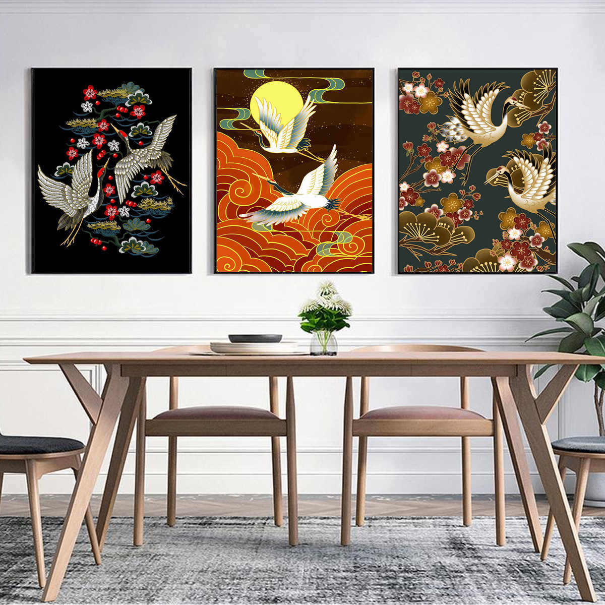 Hoja de oro chinos grúa aves Lienzo Cuadro Póster Pared Arte Decoración Hogar