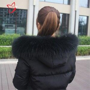 Image 5 - Spezielle Price100 % Natürliche Winter Pelz Jacken Echt Kragen Waschbären Pelz Frauen Schals Mantel Frau Neck Cap Lange Warme Echte schal