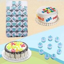 26/10 pièces Alphabet numéro lettre bricolage Fondant gâteau décoration ensemble glaçage Cutter moule moules gâteau cuisson outils nouveau