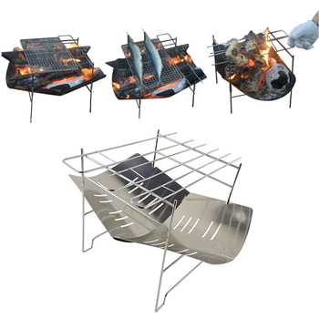 2-in-1 Portable Folding Wood Stove Burner Multifunctional Folding Barbecue Charcoal Stove Ultralight For Outdoor Camping