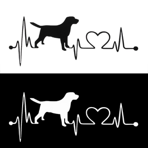 Image 3 - Labrador Retriever Heartbeat Love Decal Car Sticker Creative Auto Accessories