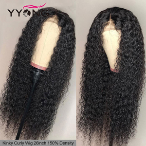 YYong 150% Brazilian Kinky Curly Lace Closure Wigs 30 32inch 5x5 Pre-Pluck With Baby Hair Natural Black Remy Human Hair Lace Wig(China)