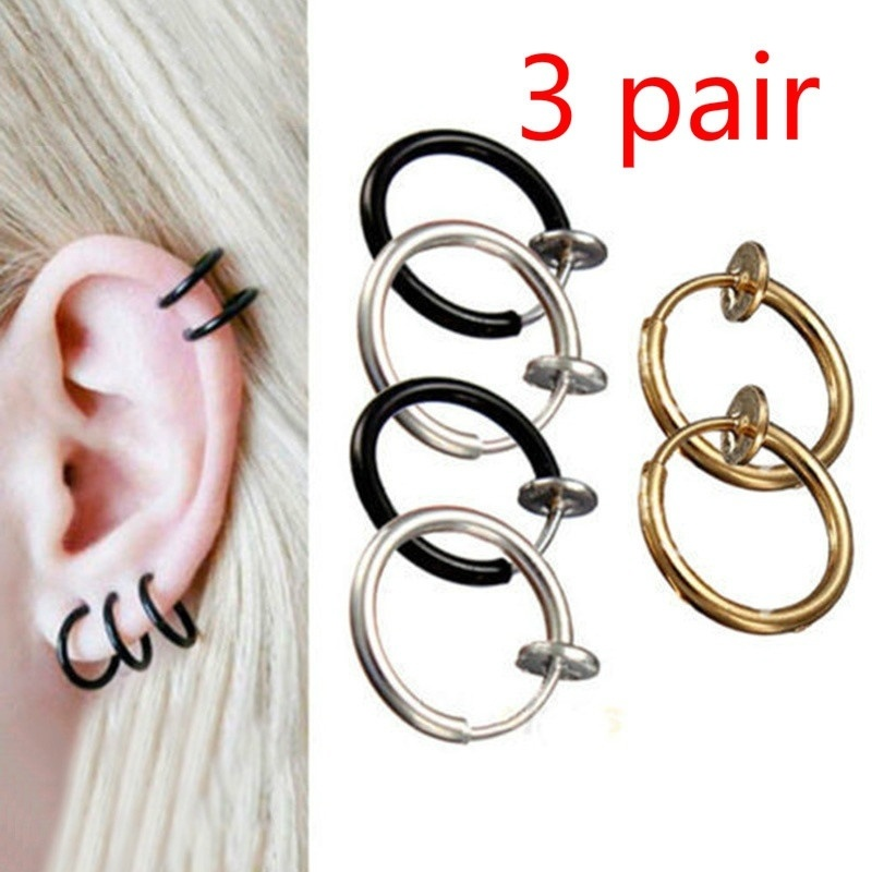 Celeb 3 pair Fake Nose Lips Ring Spring Clip Hoop Earring Unisex Piercing Septum