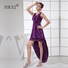 Сексуальные платья для выпускного вечера с v-образным вырезом, фиолетовые эластичные Сатиновые и кружевные плиссированные коктейльные платья