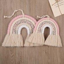 OOTDTY 5 linii Macrame Rainbow wiszący Ornament DIY liny ręcznie tkane dekoracje ścienne dla dzieci pokój dziewczyn wystrój dom pokój dziecięcy wystrój