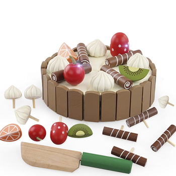 Wooden Fruit Cooking Toy Wooden Baby Kitchen Toys Pretend Play Cutting Cake Play Food Kids Toys Birthday Gifts Interests Toy фото
