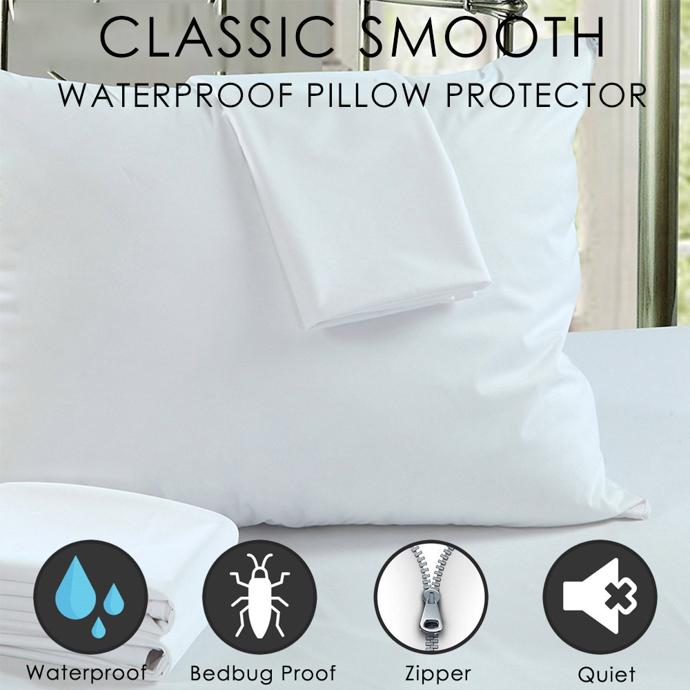 LFH 50X70CM Waterproof Zippered Pillow Protector Bed Bug Proof Pillow Cover Protects Against Dust Mite Smooth Pillowcase For Bed
