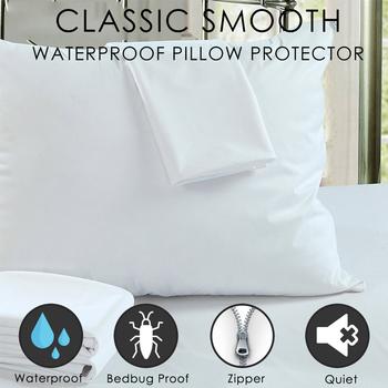LFH 50X70CM wodoodporna zapinana na zamek poszewka na poduszkę łóżko Bug dowód poduszka pokrywa chroni przed kurzem roztocza gładka poszewka na łóżko tanie i dobre opinie Gładkie barwione Zwykły Dzianiny 100 poliester waterproof pillow protector Hotel Hospital Home 200tc Poduszki ręcznik