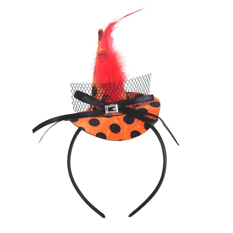 New Mini Witch Hat Headband Halloween Headbands For girls Fancy Dress Props Cosplay Party Gifts Headwear Kids 30Jul3104