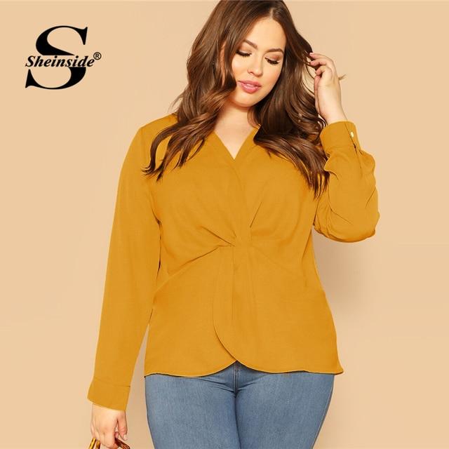 Sheinside Plus Size Elegant Front Twist Detail Blouse Women 2019 Autumn Long Sleeve Blouses Ladies Yellow Minimalist Top