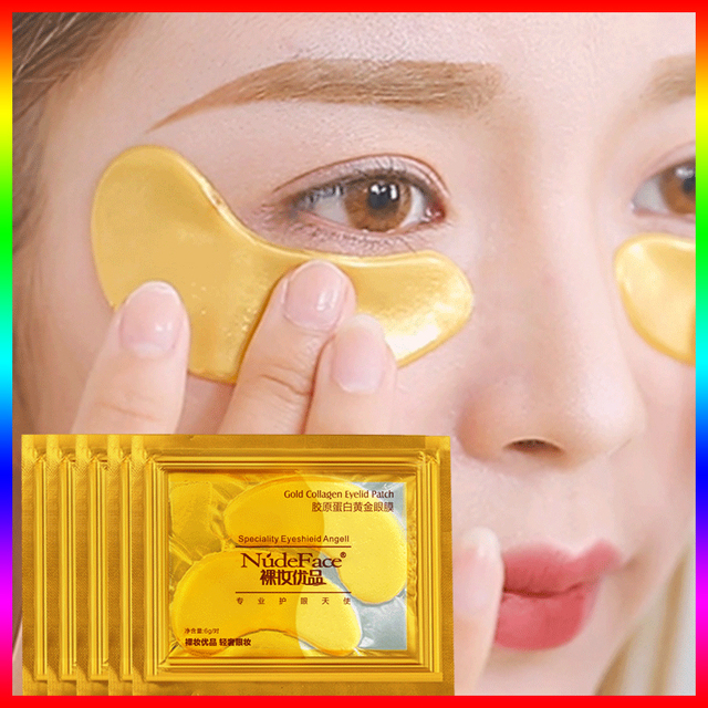 cosmetics collagen eye patches Mask skin care 24k Gold Crystal Eye Patch Colageno Gel Eye Pads eye patches mask 1