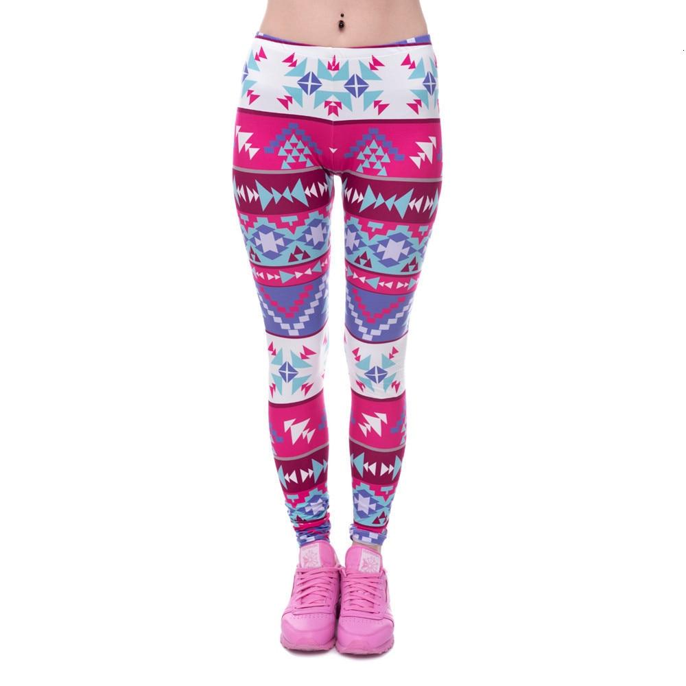 Brands Women Fashion Legging Aztec Round Ombre Printing leggins Slim High Waist  Leggings Woman Pants 60