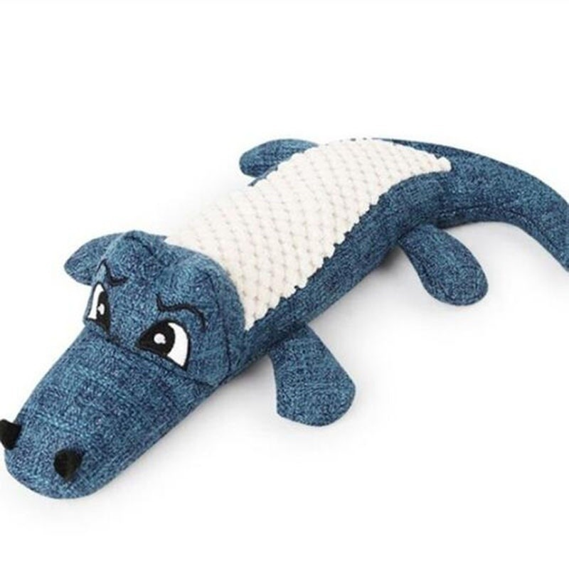 Pet Dog Toy Linen Plush Crocodile Animal Toy Dog Chew Squeaky Noise Toy Cleaning Teeth Supplies Toy Tough Interactive Doll 1PC 14