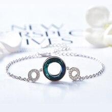 Isıtıcı Farben Swarovski gelen kristal bilezikler kadınlar kore Link zinciri kişilik daire bilezik moda takı bilezik hediye