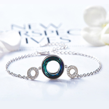 Warme Farben Crystal Van Swarovski Armbanden Vrouwen Koreaanse Link Chain Persoonlijkheid Cirkel Armband Mode sieraden Armbanden Gift
