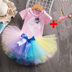 Unicórnio vestido infantil roupas da menina do bebê 1 ano vestidos de aniversário primeira festa de aniversário unicórnio roupas crianças batismo do bebê vestido