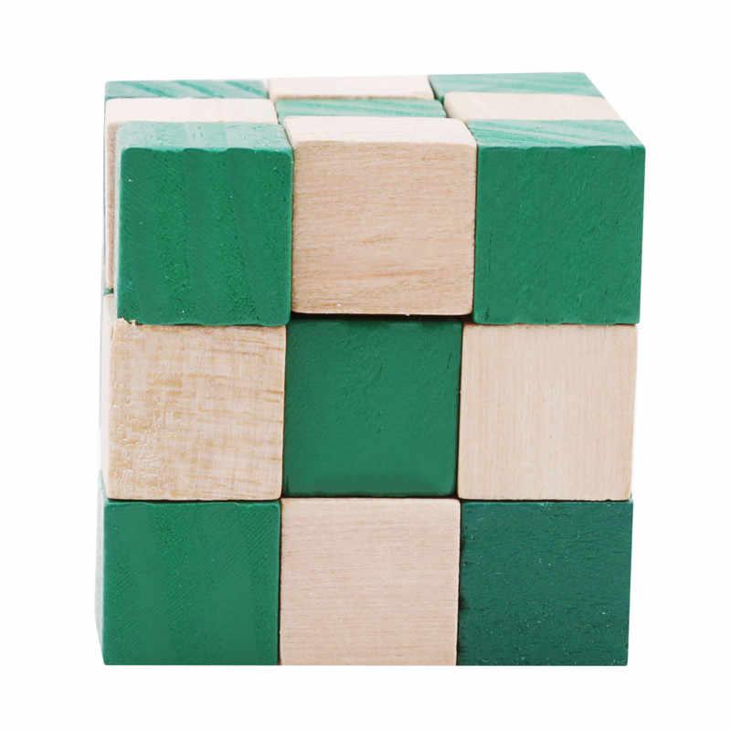 27セクションキューブ木製の定規ヘビツイストパズルホット販売チャレンジiq脳のおもちゃクラシックゲーム新