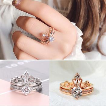 Fashion 925 Sterling Silver Rings Rose Gold Zircon Drill Hollow Crown Diamond Rings for Women Wedding Engagement Jewelry Gifts 1