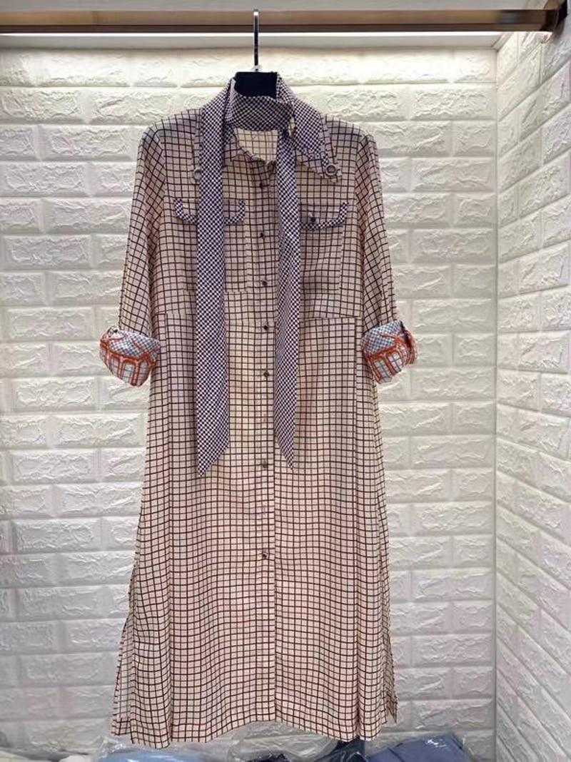 Silk Dress Women Casual V-Neck Print Belt Dress Lady Day Time Embroidery Dress