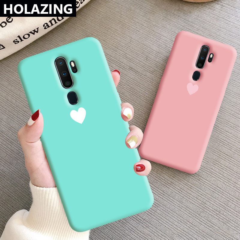 for <font><b>OPPO</b></font> <font><b>A9</b></font> <font><b>2020</b></font> <font><b>A5</b></font> A3S A7 AX7 AX5S <font><b>Case</b></font> Candy Heart Matching Color Soft Silicone Cover Coque Funda image