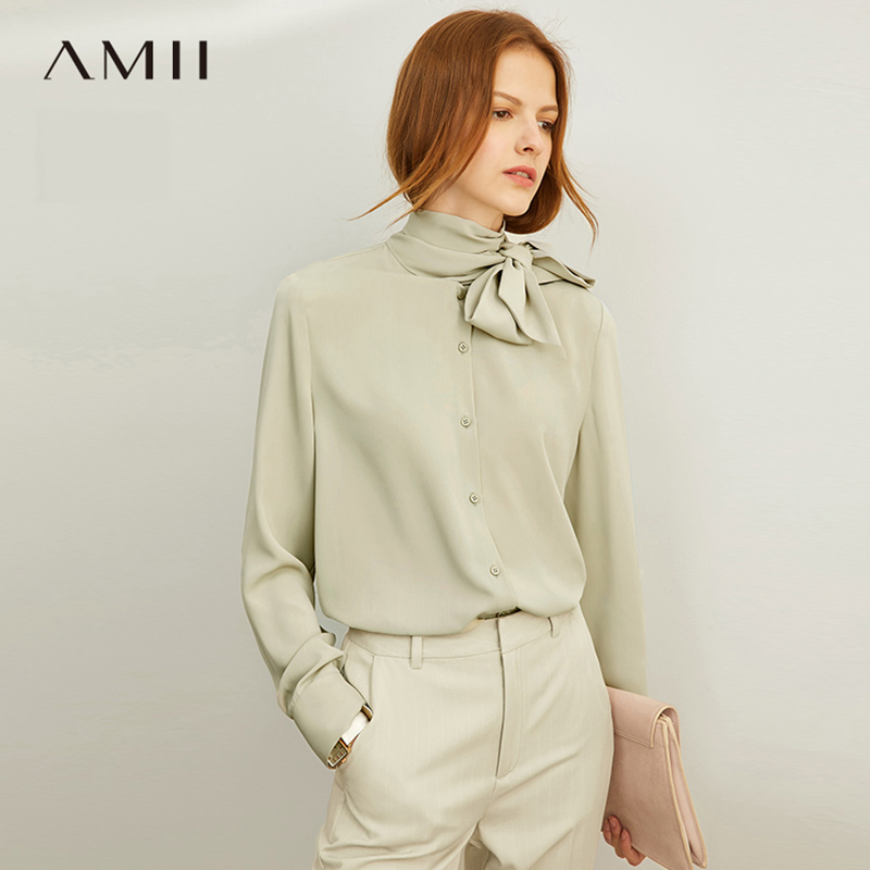 Amii Minimalism Sping Summer Solid Bow Neck Shirt Women Fashion Full Sleeves Single-breasted Shirt Tops 12030202