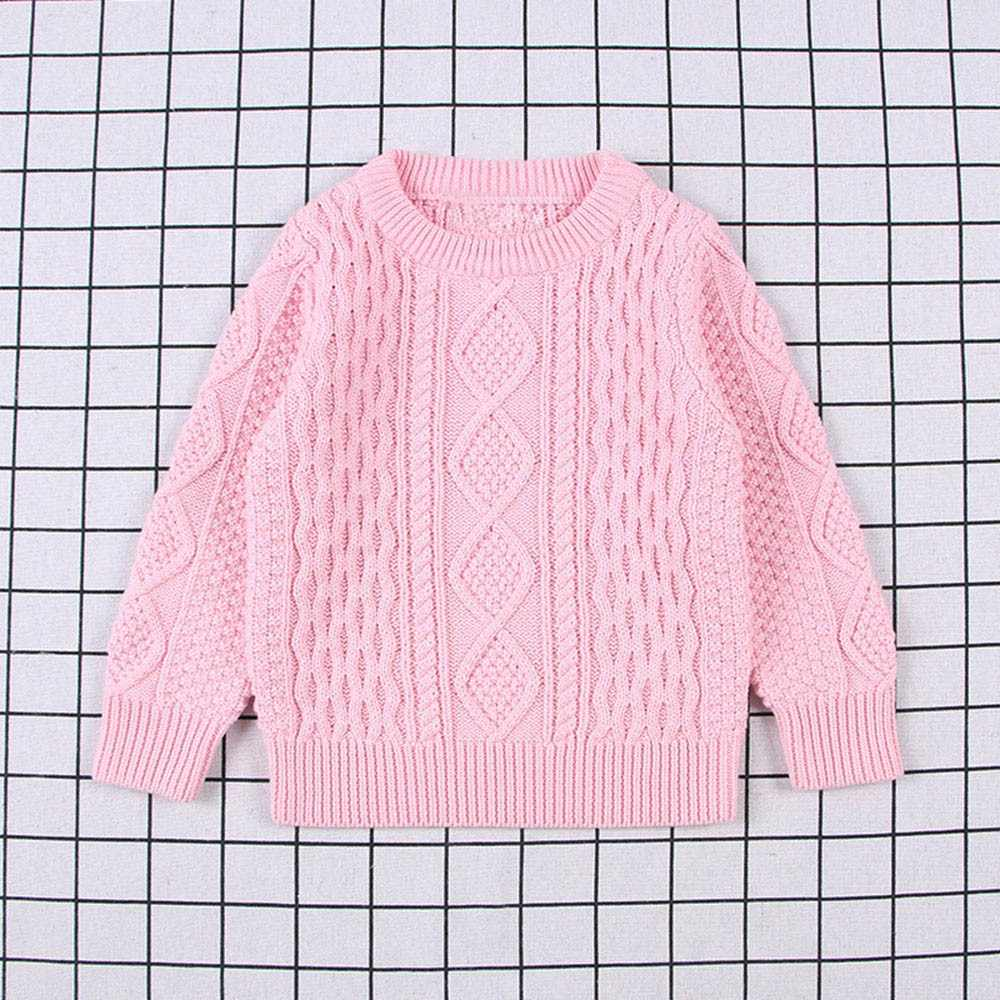 Children Baby Girl Boy Knitted Sweater Pullover Solid Sewing Tops Outfit Clothes Patterned sweater Lovely Pink sweater for Baby