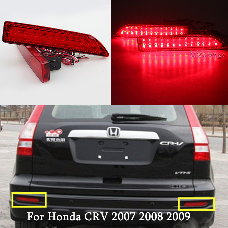 MZORANGE 2Pcs Honda CRV 2007 Arxa Bamper Reflektor İşığı 2007 2008 2009 LED Reflektor Stop Əyləc Dumanı Lampa Quyruq İşıq CAR Styling