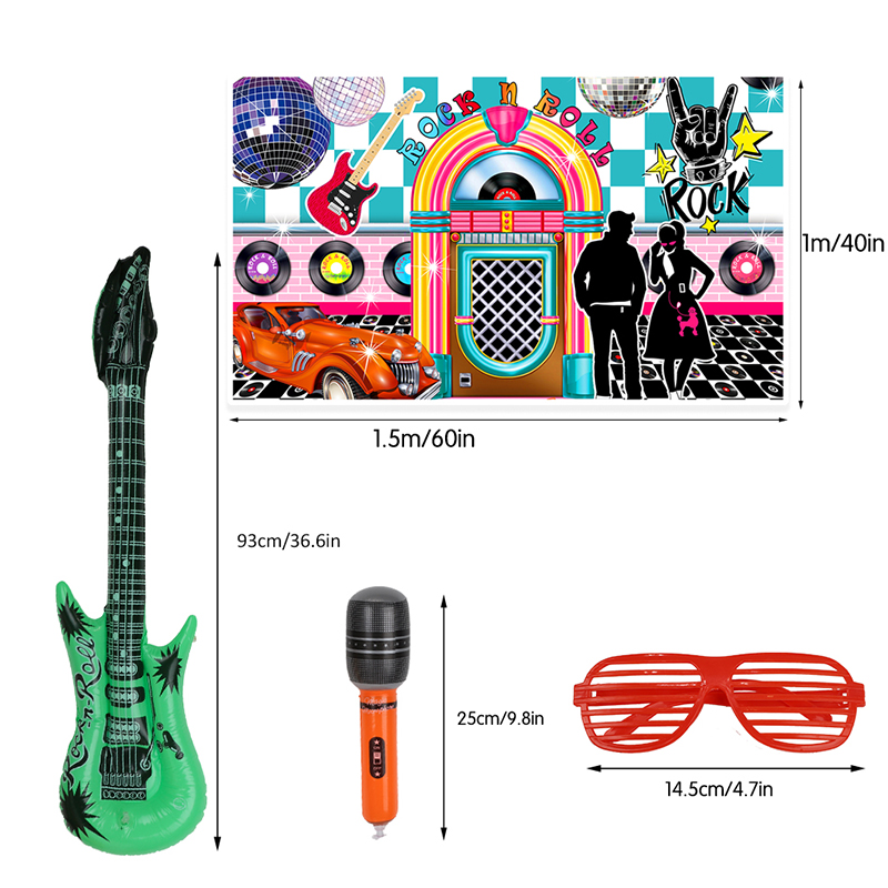 Image 2 - 25pcs 50s Rock Party Supplies Rock and Roll Star Party Backdrop Rock Toy Set Music Party Props for Birthday Party decorationsParty DIY Decorations   -