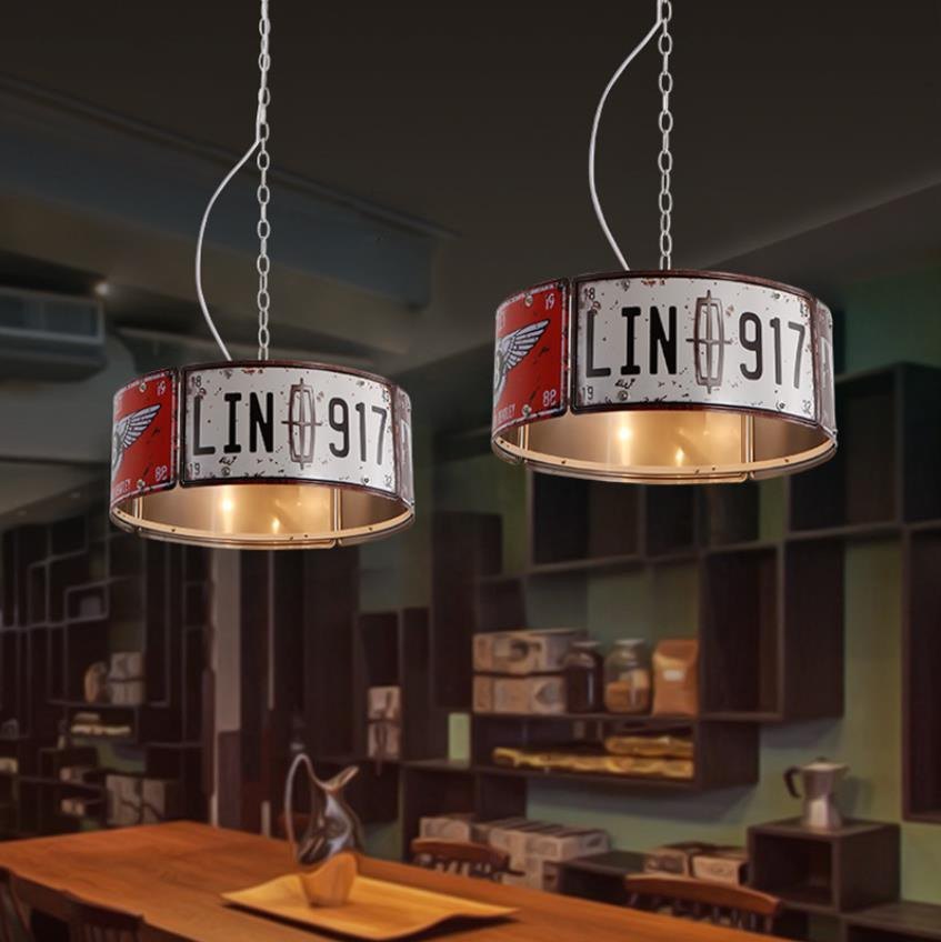 Industrial Wind Pendant Lamp Retro Loft Iron Art Personality American Bar Restaurant Net Coffee Iron Art Creative License Plate