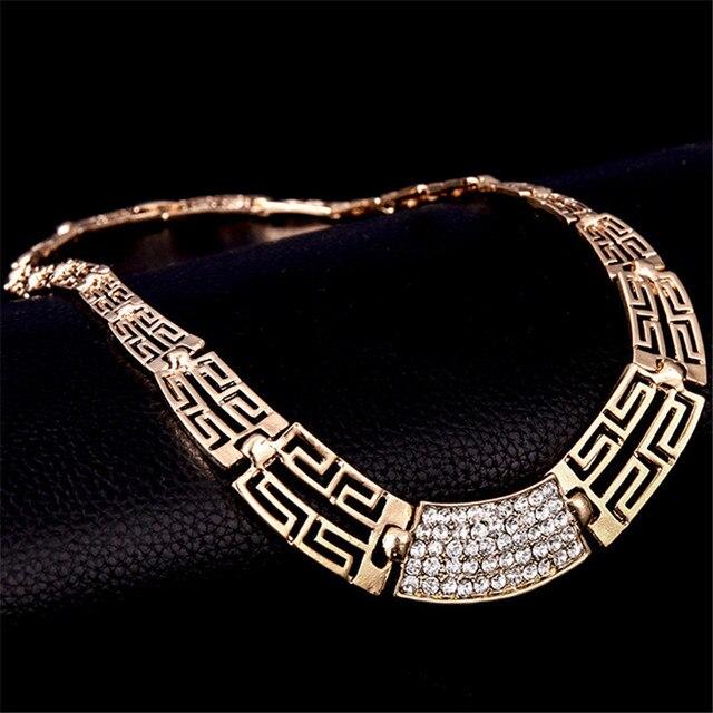 Conjunto de joyería para mujer, oro nuevo, Vintage, anillo circón cuadrado, Gargantilla dorada, collar para mujer, pulseras de marca 5