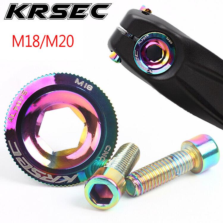 Colorful KRSEC Crank Cover Screw Cap M18/M20 MTB Crankset Crank Cover Aluminum Bike Parts