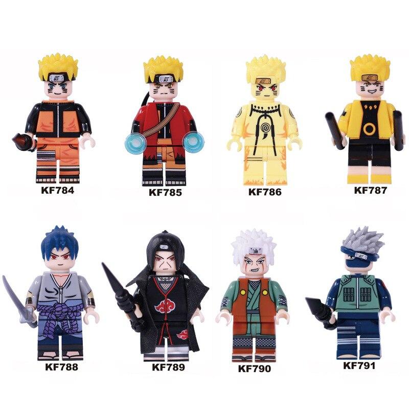 8pcs Naruto Bricks Uzumaki Naruto Uchiha Sasuke Jiraika Hatake Kakashi Figures Toys Compatible With