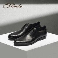 J.benato Man Shoes Business Formal Men's Leather Shoes Breathable Punched Low Top Toe Cap Leather Laces Men's Tide Shoes