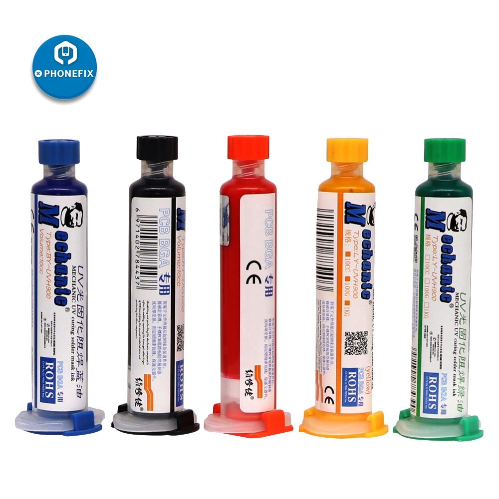 MECHANIC Solder Paste Flux UV Solder Resist Mask Blue Black Red Yellow Green Oil Welding Flux For PCB BGA Circuit Board Protect