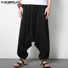 INCERUN Men Harem Pants Cotton Streetwear Joggers Solid Pants Nepal Drop-crotch Trousers Men Loose Pantalones Hombre S-5XL 2020(China)