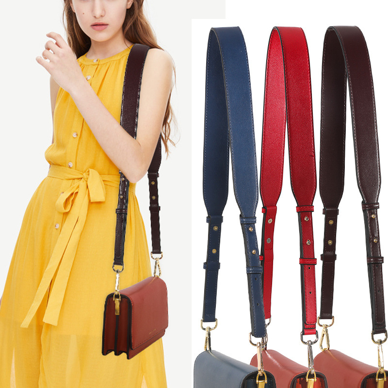 NEW Leather Wide Shoulder Strap Brand Luxury Bag Strap Solid Color Adjustable Length High Quality Women Bag Accessories Lady