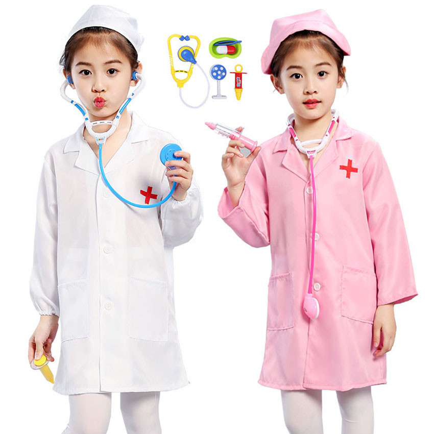 Children's Day Cosplay Carnival Party Baby Girl Boy Roleplay Surgeon Doctor Kids Uniform Fancy Costume Medical Tools Set Jacket
