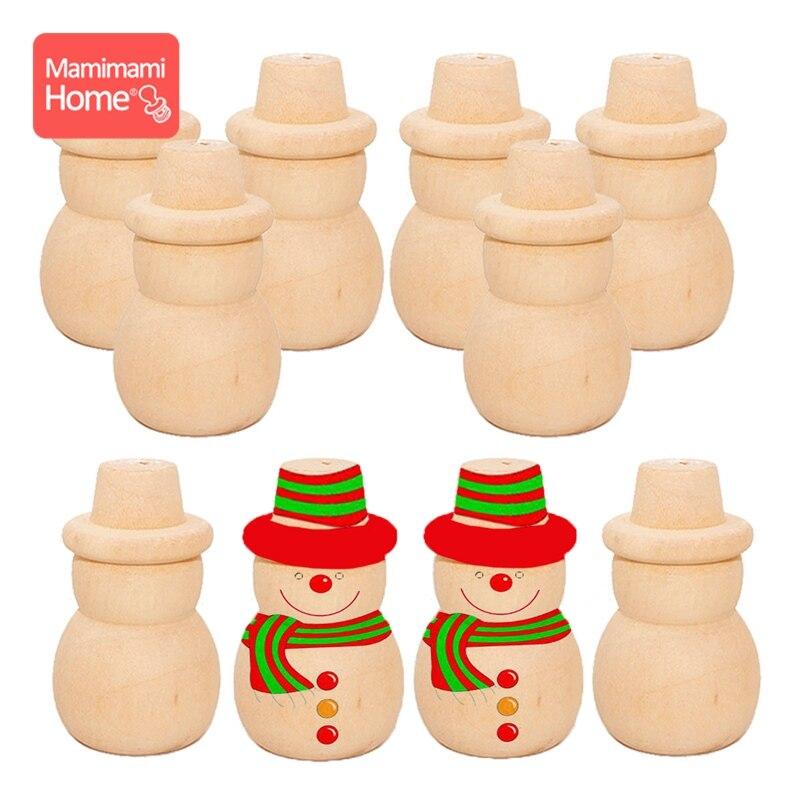 51mm 20PCS/Lot Wooden Peg Doll Handmade Snowman Kids DIY Girls Toys Wooden Blank Rodent Baby Newborn Gifts Children'S Goods Toys