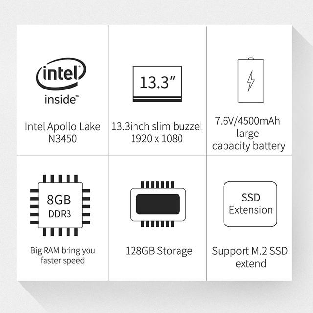 Ponticello EZbook X3 Da 13.3 Pollici IPS Schermo Del Computer Portatile N3450 Quad Core 8 GB/128 GB Metallo Borsette Notebook con m.2 SATA SSD Slot