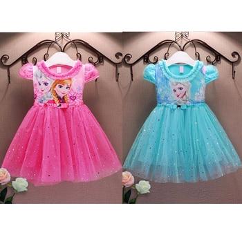Summer Anna Elsa Dress Girls Princess Dress Party Costume Cosplay Snow Queen Fantasy Baby Girls Dresses Children Clothing