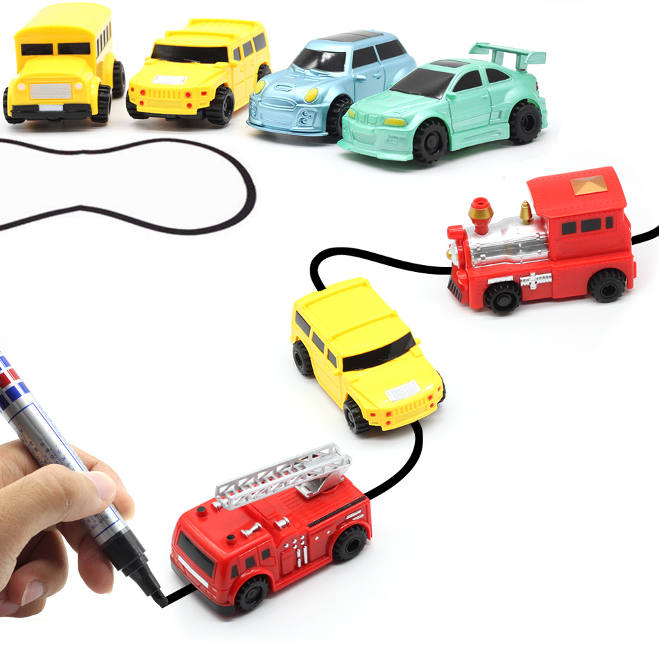 Free Delivery Magic Pen Inductive Car Truck Follow Any Drawn Black Line Track Mini Toy Engineering Vehicles Educational Toy Boy
