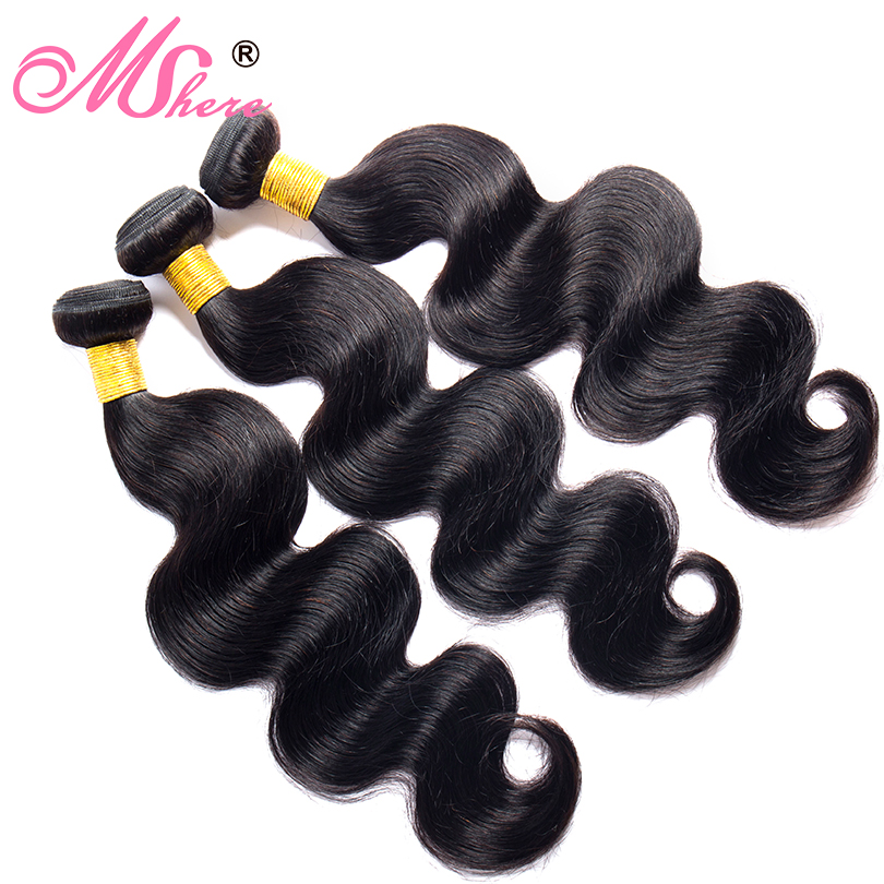 Image 3 - Mshere Hair Peruvian Hair Body Wave Human Hair Bundles With Lace Closure Nature Black Pre Plucked Closure With Hair Bundles 1B#-in 3/4 Bundles with Closure from Hair Extensions & Wigs