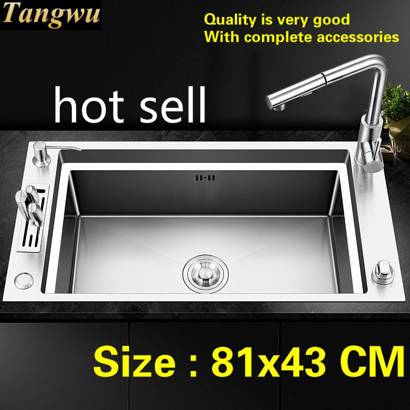 Free Shipping Apartmen Kitchen Manual Sink Single Trough Push-button Drainer Food Grade Stainless Steel Big 81x43 CM