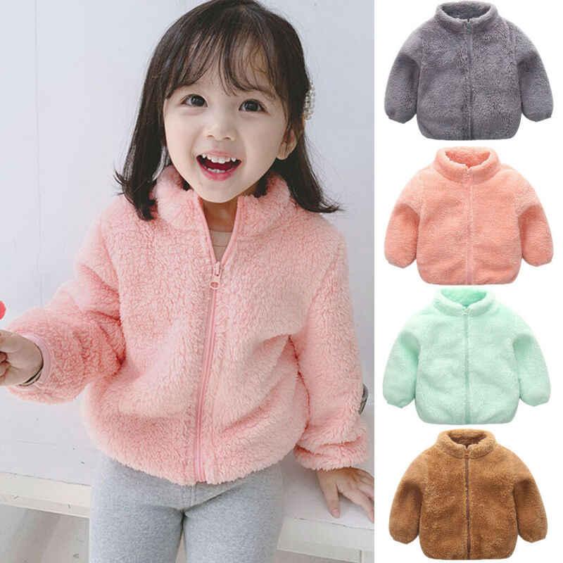 유아 아기 소녀 소년 겨울 wram 코트 키즈 양털 카디건 의류 긴 소매 지퍼 바람 작은 아기 자켓 겉옷