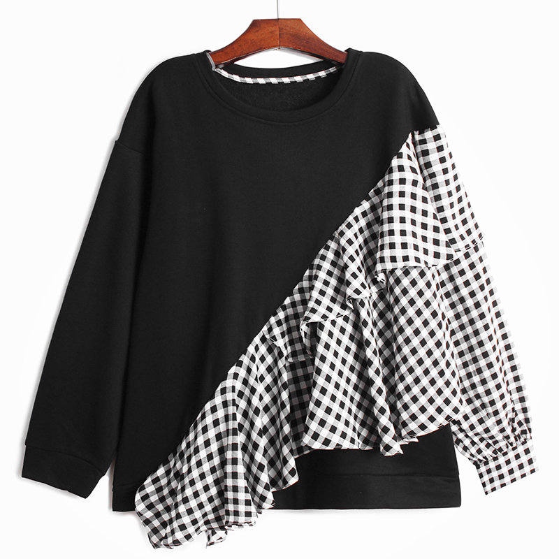 [EAM] Loose Fit Gray Plaid Ruffles Sweatshirt New Round Neck Long Sleeve Women Big Size Fashion Spring Autumn 2020 1DA145 3