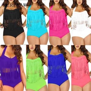 Aliexpress New Foreign Trade High Waist Plus Fat Tassel Bikini Women's Swimwear Women Europe and America Plus Size Swimsuits(China)
