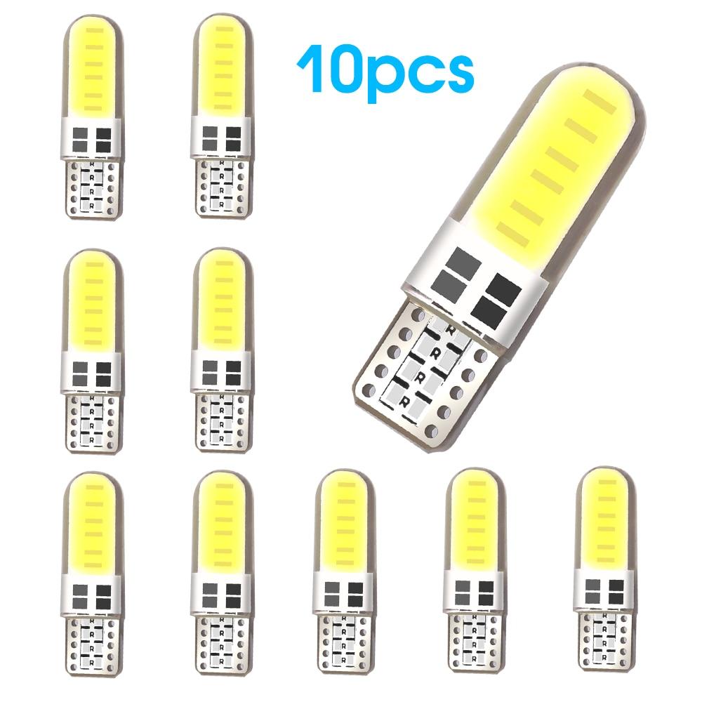 10 pces t10 cob 4/6/12 smd led auto interior lâmpada canbus erro livre branco 5730 led 12v lado do carro cunha luz cúpula lâmpada